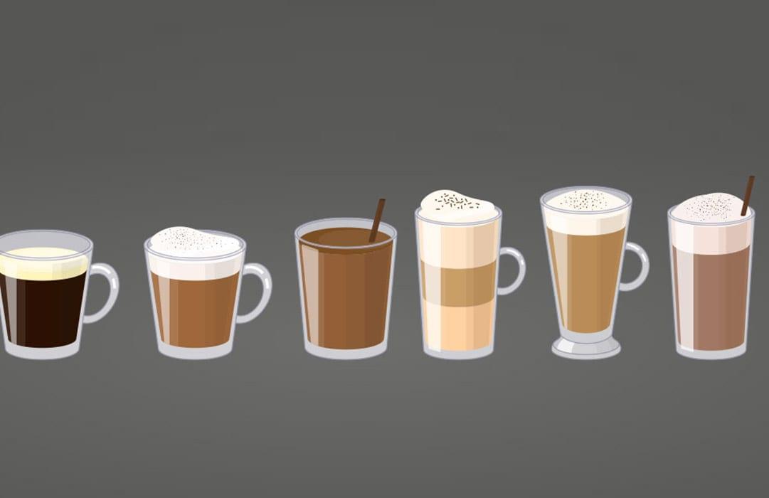 איור סוגי קפה שונים