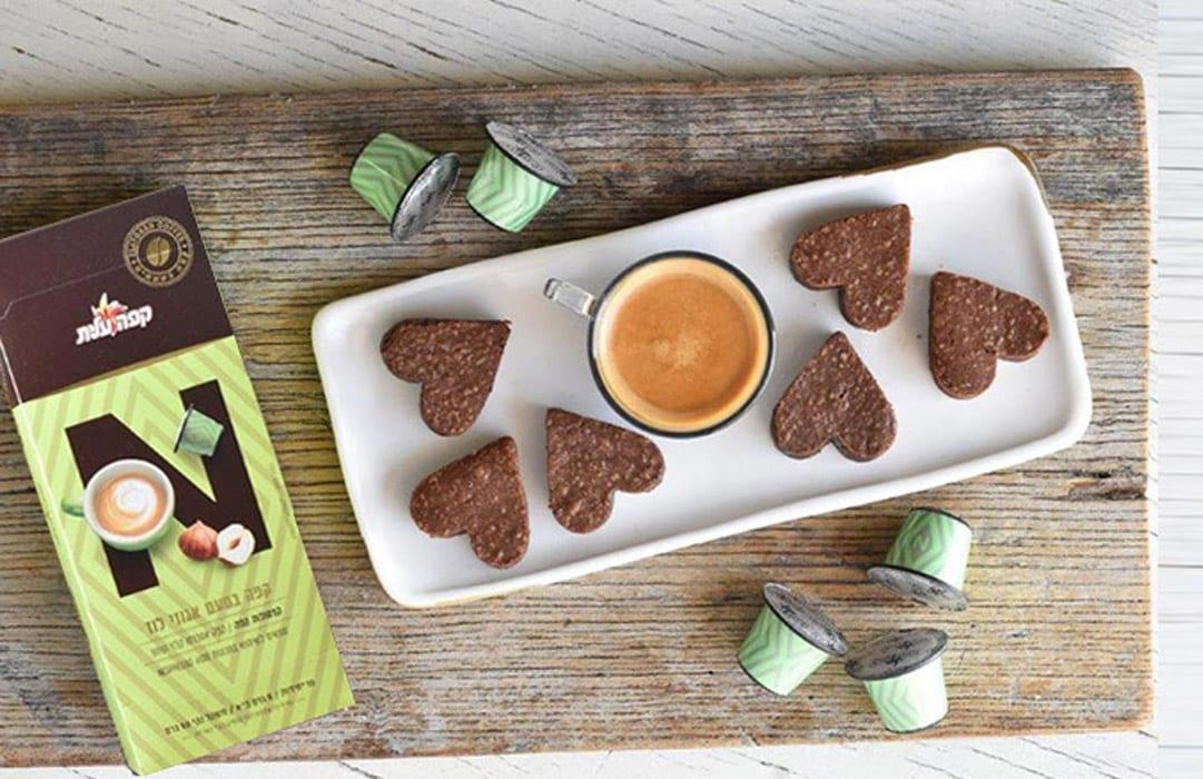 לבבות שוקולת וקפה בטעם אגוזי לוז